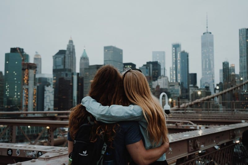 two girls hugging in city, healthy boundaries therapy, Ft. Lauderdale, FL